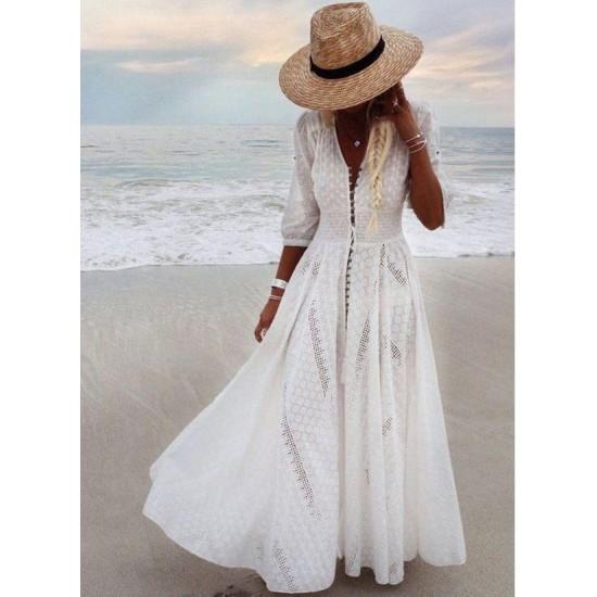 Boho Solid Round Neckline Maxi X-line Dress