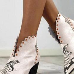 Women's Animal Print Closed Toe Nubuck Chunky Heel Pumps