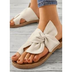 Women's Bowknot Flats Cloth Flat Heel Sandals
