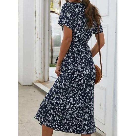 Boho Floral V-Neckline Midi X-line Dress