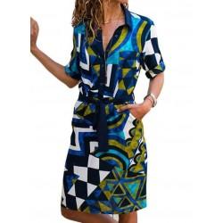 Casual Color Block Collar Knee-Length X-line Dress