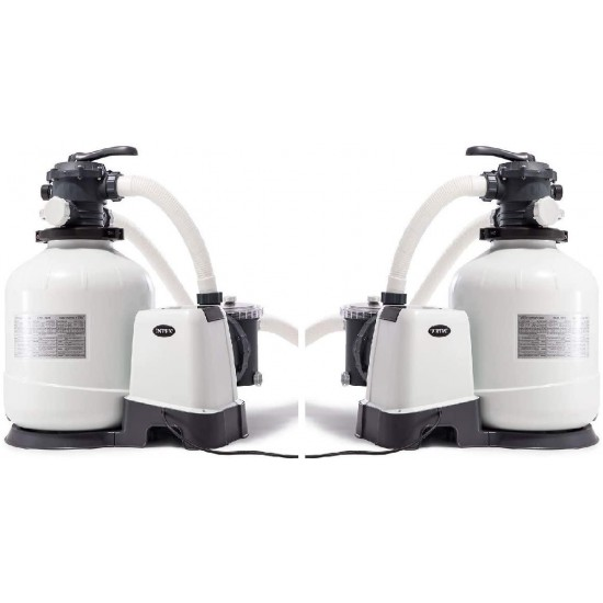 3000 GPH Above Ground Pool Sand Filter Pump with Automatic Timer (2 Pack)