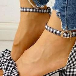 Women's Bowknot Buckle Heather Chunky Heel Sandals