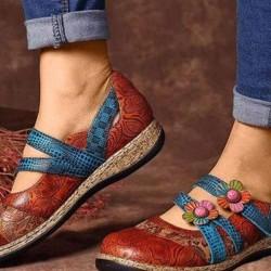 Women's Flower Closed Toe Wedge Heel Wedges