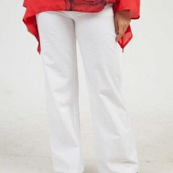 Casual Loose Pockets Mid Waist Polyester Pants