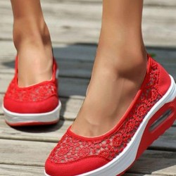Women's Hollow-out Closed Toe Lace Wedge Heel Sneakers