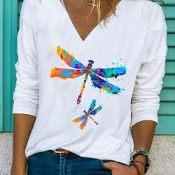 Animal V-Neckline Long Sleeve Casual T-Shirts