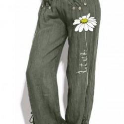 Casual Loose Buttons Pattern Mid Waist Polyester Pants