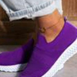 Women's Elastic Band Closed Toe Flat Heel Sneakers