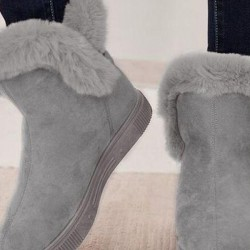 Women's Buckle Fur Ankle Boots Flat Heel Boots