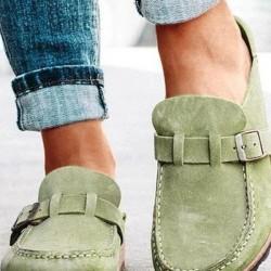 Women's Buckle Closed Toe Square Toe Slingbacks Nubuck Flat Heel Sandals