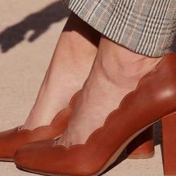Women's Closed Toe Leatherette Chunky Heel Pumps