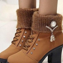 Women's Lace-up Ankle Boots Fabric Chunky Heel Boots