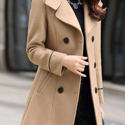 Long Sleeve Collar Buttons Trench Coats