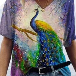 Animal V-Neckline Short Sleeve Casual T-Shirts