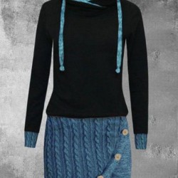 Casual Color Block Round Neckline Above Knee Shift Dress