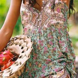 Boho Floral Camisole Neckline Maxi A-line Dress