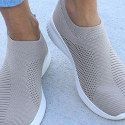 Women's Hollow-out Closed Toe Cloth Wedge Heel Sneakers