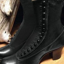 Women's Button Ankle Boots Round Toe Chunky Heel Boots