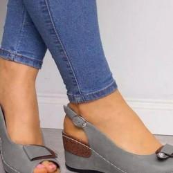 Women's Buckle Peep Toe Slingbacks Wedge Heel Sandals