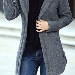 Long Sleeve Hooded Zipper Pockets Peacoats