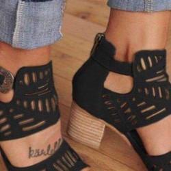 Women's Buckle Hollow-out Heels Nubuck Chunky Heel Sandals