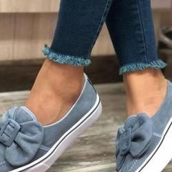 Women's Bowknot Round Toe Flat Heel Pumps