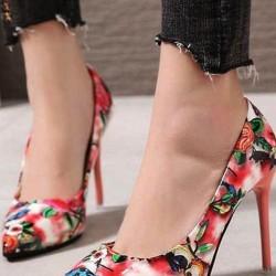 Women's Flower Closed Toe Stiletto Heel Pumps