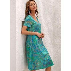 Boho Floral V-Neckline Short Sleeve Maxi Dress