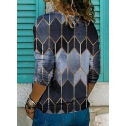 Geometric V-Neckline Long Sleeve Casual T-shirts