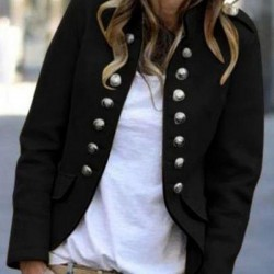Long Sleeve Stand Collar Buttons Pockets Jackets
