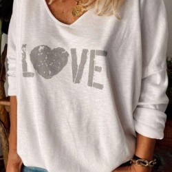 Alphabet V-Neckline Long Sleeve Casual T-shirts