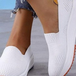 Women's Hollow-out Closed Toe Fabric Wedge Heel Sneakers