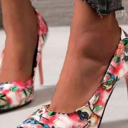 Women's Flower Pointed Toe Stiletto Heel Pumps