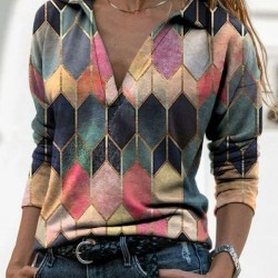 Color Block Casual Collar Long Sleeve Blouses