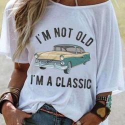 Alphabet Oblique Neckline Short Sleeve Casual T-shirts