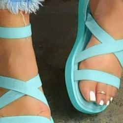 Women's Buckle Flats Cloth Flat Heel Sandals