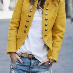 Long Sleeve High Neckline Buttons Pockets Coats Jackets