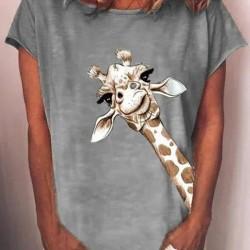 Animal Casual Round Neckline Short Sleeve Blouses