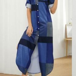 Casual Color Block Shirt Collar Shift Dress