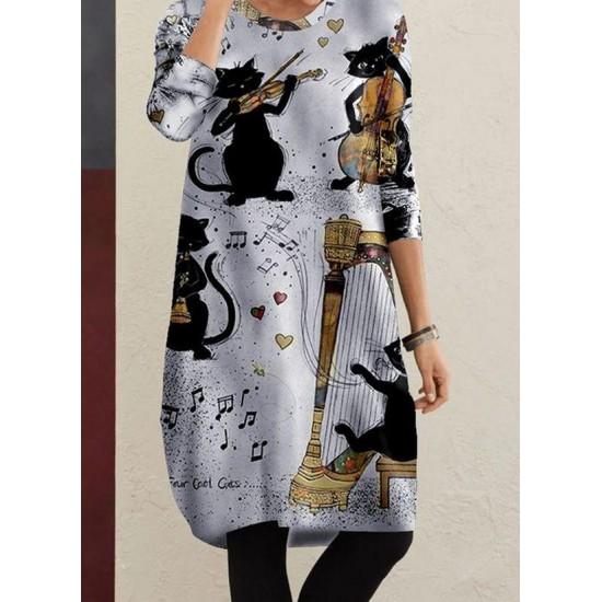 Casual Animal Tunic Round Neckline A-line Dress