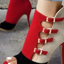 Women's Buckle Peep Toe Nubuck Stiletto Heel Pumps
