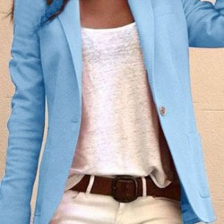 Long Sleeve Lapel Pockets Blazers