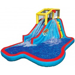 BAN-35076 Slide N Soak Splash Park Inflatable Outdoor Kids Water Park Play Center with Slides, Pool, and Air Blower Motor