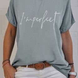 Alphabet Round Neck Short Sleeve Casual T-shirts