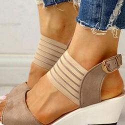 Women's Buckle Peep Toe Slingbacks Cloth Wedge Heel Sandals