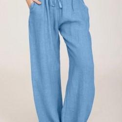 Casual Loose Pockets High Waist Cotton Blends Pants
