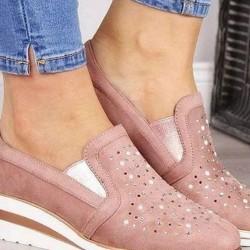 Women's Beading Round Toe Low Heel Sneakers