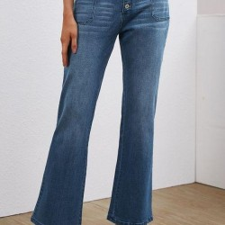 Casual Bootcut Buttons Pockets High Waist Polyester Jeans