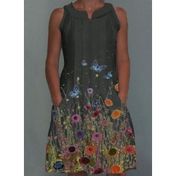 Casual Floral Shirt Round Neckline A-line Dress